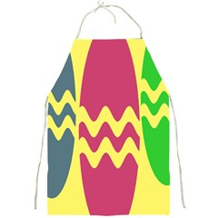 Easter Egg Shapes Large Wave Green Pink Blue Yellow Full Print Aprons