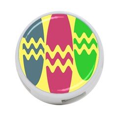 Easter Egg Shapes Large Wave Green Pink Blue Yellow 4-Port USB Hub (Two Sides)
