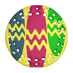 Easter Egg Shapes Large Wave Green Pink Blue Yellow Round Filigree Ornament (Two Sides)