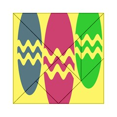 Easter Egg Shapes Large Wave Green Pink Blue Yellow Acrylic Tangram Puzzle (6  x 6 )