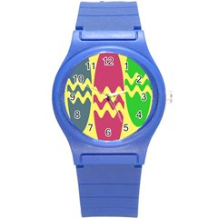 Easter Egg Shapes Large Wave Green Pink Blue Yellow Round Plastic Sport Watch (s)