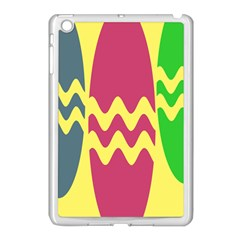 Easter Egg Shapes Large Wave Green Pink Blue Yellow Apple iPad Mini Case (White)