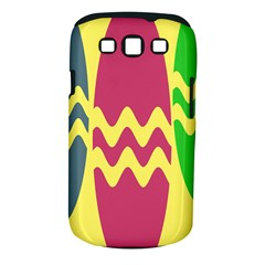 Easter Egg Shapes Large Wave Green Pink Blue Yellow Samsung Galaxy S III Classic Hardshell Case (PC+Silicone)