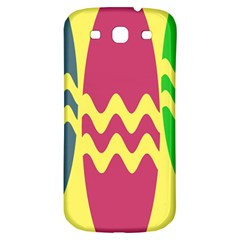 Easter Egg Shapes Large Wave Green Pink Blue Yellow Samsung Galaxy S3 S III Classic Hardshell Back Case