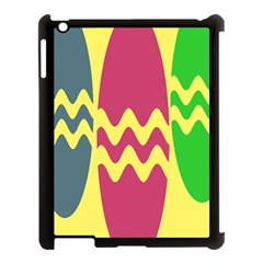 Easter Egg Shapes Large Wave Green Pink Blue Yellow Apple Ipad 3/4 Case (black)
