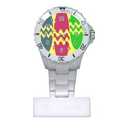 Easter Egg Shapes Large Wave Green Pink Blue Yellow Plastic Nurses Watch