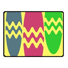 Easter Egg Shapes Large Wave Green Pink Blue Yellow Double Sided Fleece Blanket (Small)
