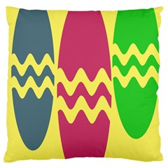 Easter Egg Shapes Large Wave Green Pink Blue Yellow Standard Flano Cushion Case (one Side)