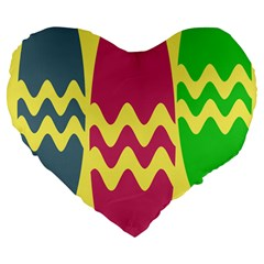 Easter Egg Shapes Large Wave Green Pink Blue Yellow Large 19  Premium Flano Heart Shape Cushions