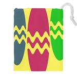 Easter Egg Shapes Large Wave Green Pink Blue Yellow Drawstring Pouches (XXL) Front