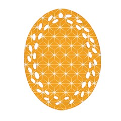Yellow Stars Light White Orange Oval Filigree Ornament (Two Sides)
