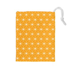 Yellow Stars Light White Orange Drawstring Pouches (Large)