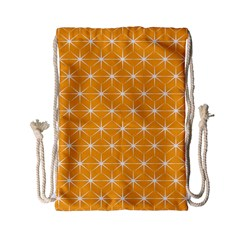 Yellow Stars Light White Orange Drawstring Bag (small)