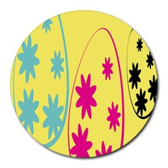 Easter Egg Shapes Large Wave Green Pink Blue Yellow Black Floral Star Round Mousepads