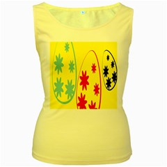 Easter Egg Shapes Large Wave Green Pink Blue Yellow Black Floral Star Women s Yellow Tank Top