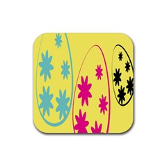 Easter Egg Shapes Large Wave Green Pink Blue Yellow Black Floral Star Rubber Square Coaster (4 pack)