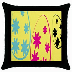 Easter Egg Shapes Large Wave Green Pink Blue Yellow Black Floral Star Throw Pillow Case (Black)