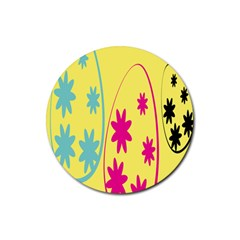 Easter Egg Shapes Large Wave Green Pink Blue Yellow Black Floral Star Rubber Coaster (round)