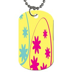 Easter Egg Shapes Large Wave Green Pink Blue Yellow Black Floral Star Dog Tag (One Side)