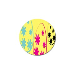 Easter Egg Shapes Large Wave Green Pink Blue Yellow Black Floral Star Golf Ball Marker (4 pack)
