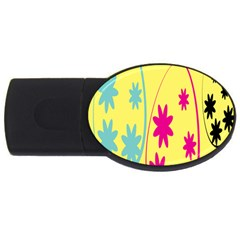 Easter Egg Shapes Large Wave Green Pink Blue Yellow Black Floral Star USB Flash Drive Oval (1 GB)