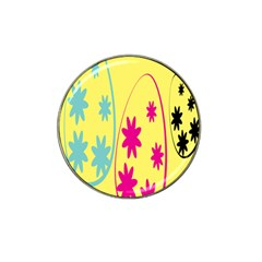 Easter Egg Shapes Large Wave Green Pink Blue Yellow Black Floral Star Hat Clip Ball Marker (4 pack)