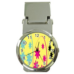 Easter Egg Shapes Large Wave Green Pink Blue Yellow Black Floral Star Money Clip Watches