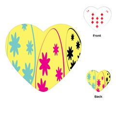 Easter Egg Shapes Large Wave Green Pink Blue Yellow Black Floral Star Playing Cards (Heart)