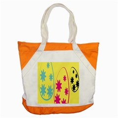 Easter Egg Shapes Large Wave Green Pink Blue Yellow Black Floral Star Accent Tote Bag