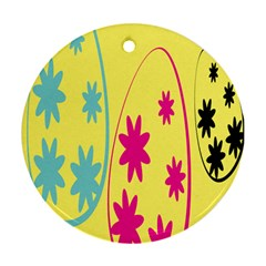 Easter Egg Shapes Large Wave Green Pink Blue Yellow Black Floral Star Round Ornament (two Sides)