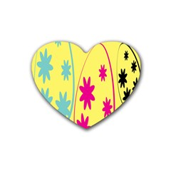 Easter Egg Shapes Large Wave Green Pink Blue Yellow Black Floral Star Rubber Coaster (Heart)