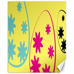 Easter Egg Shapes Large Wave Green Pink Blue Yellow Black Floral Star Canvas 11  x 14