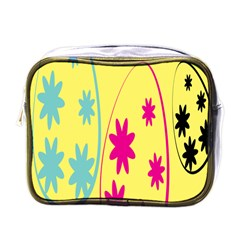 Easter Egg Shapes Large Wave Green Pink Blue Yellow Black Floral Star Mini Toiletries Bags