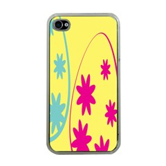 Easter Egg Shapes Large Wave Green Pink Blue Yellow Black Floral Star Apple Iphone 4 Case (clear)