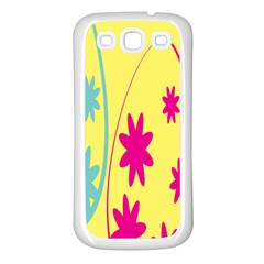 Easter Egg Shapes Large Wave Green Pink Blue Yellow Black Floral Star Samsung Galaxy S3 Back Case (White)