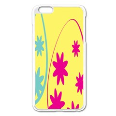 Easter Egg Shapes Large Wave Green Pink Blue Yellow Black Floral Star Apple iPhone 6 Plus/6S Plus Enamel White Case