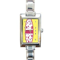Easter Egg Shapes Large Wave Pink Yellow Circle Dalmation Rectangle Italian Charm Watch