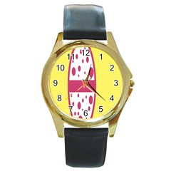 Easter Egg Shapes Large Wave Pink Yellow Circle Dalmation Round Gold Metal Watch