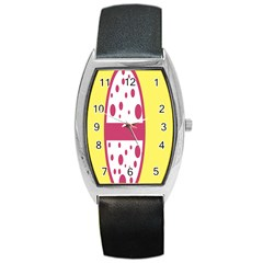 Easter Egg Shapes Large Wave Pink Yellow Circle Dalmation Barrel Style Metal Watch