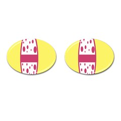 Easter Egg Shapes Large Wave Pink Yellow Circle Dalmation Cufflinks (oval)