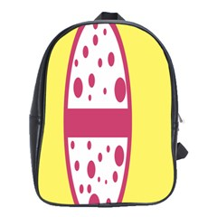 Easter Egg Shapes Large Wave Pink Yellow Circle Dalmation School Bags(Large)