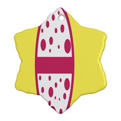 Easter Egg Shapes Large Wave Pink Yellow Circle Dalmation Ornament (snowflake)