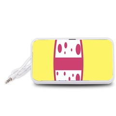 Easter Egg Shapes Large Wave Pink Yellow Circle Dalmation Portable Speaker (White)