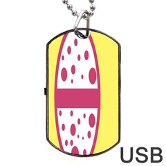 Easter Egg Shapes Large Wave Pink Yellow Circle Dalmation Dog Tag USB Flash (One Side)