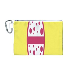 Easter Egg Shapes Large Wave Pink Yellow Circle Dalmation Canvas Cosmetic Bag (M)