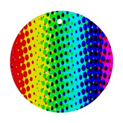 Comic Strip Dots Circle Rainbow Round Ornament (Two Sides)