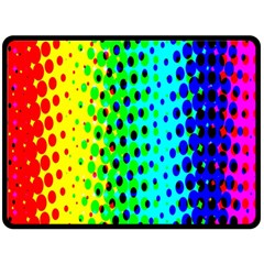 Comic Strip Dots Circle Rainbow Double Sided Fleece Blanket (Large)
