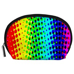 Comic Strip Dots Circle Rainbow Accessory Pouches (Large)