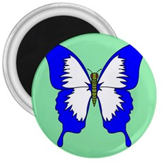 Draw Butterfly Green Blue White Fly Animals 3  Magnets