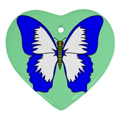 Draw Butterfly Green Blue White Fly Animals Ornament (heart)